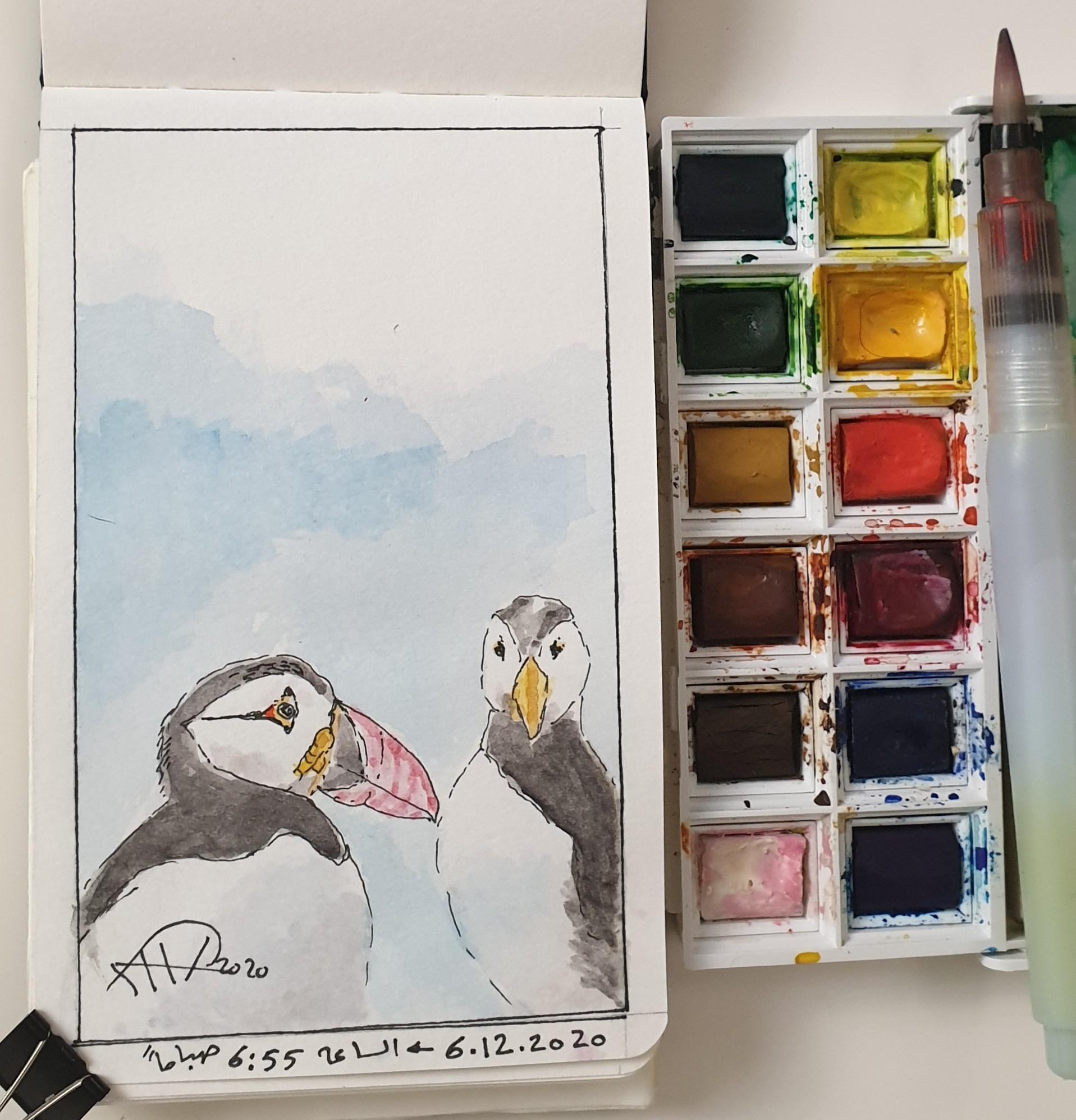 Ali radwani drawing sketch challenge 1hour1sketch pen pencil Coloring watercolor