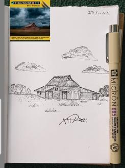 sketch of house by ali radwani ahradwani.com black pen pencil