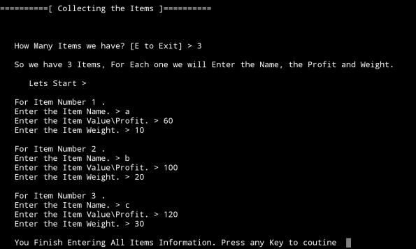 ali radwani python project Knapsack Problem Algorithm