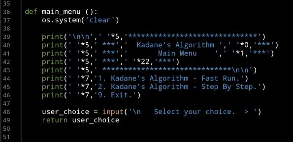 Ali radwani python project code Kadane Algorithm